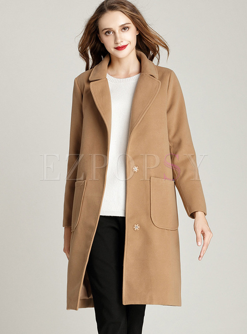 Camel Notched Straight Overcoat With Pockets
