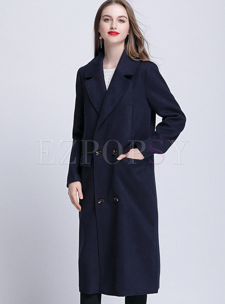 Brief Turn Down Collar Knee-length Coat