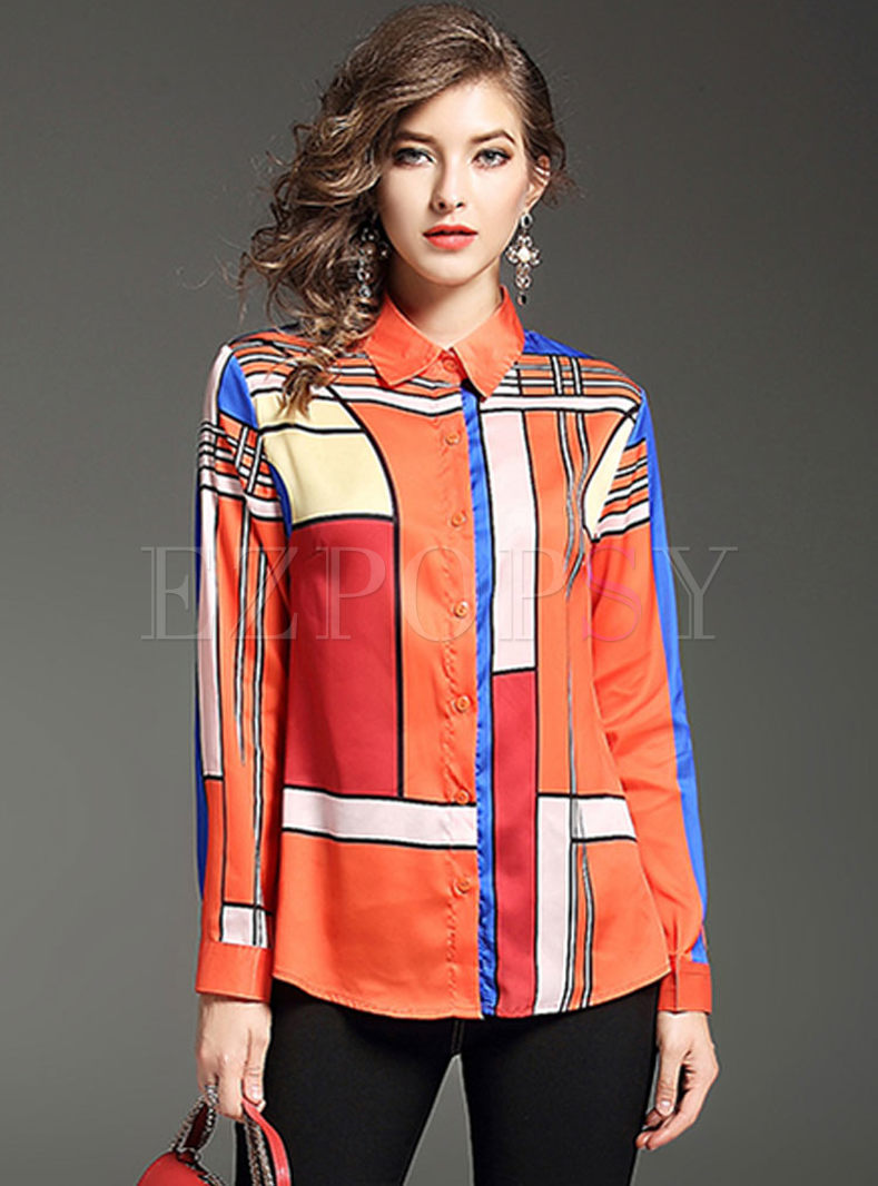 Color-blocked Print Long Sleeve Blouse