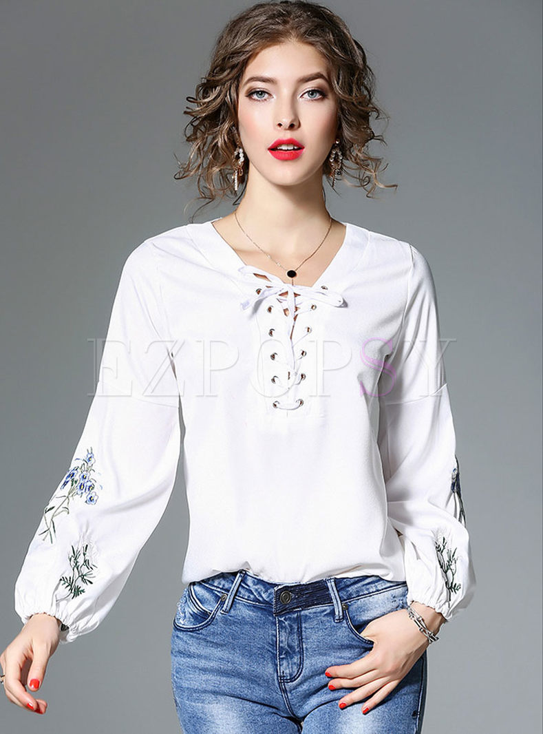 Casual Tie Embroidery Long Sleeve Blouse