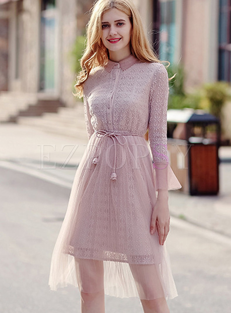 Sweet Pink Warm Belted Lace Skater Dress