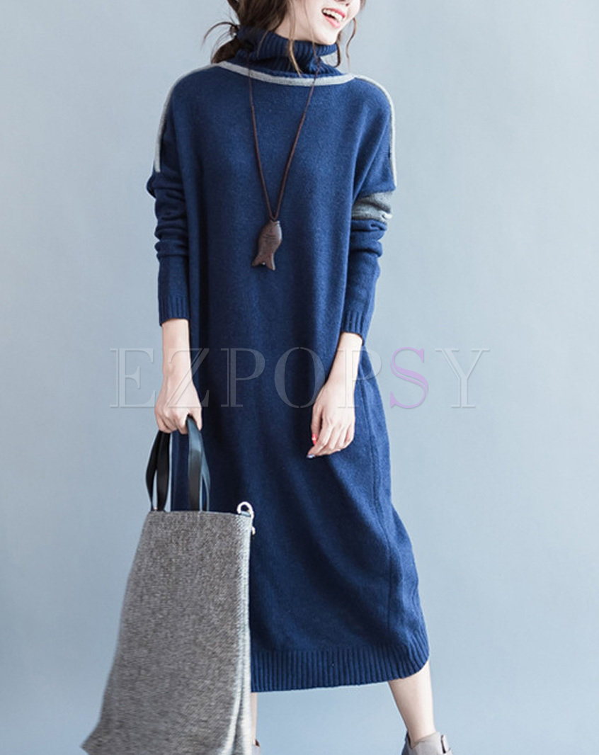 Brief High Neck Color-blocked Knitted Dress