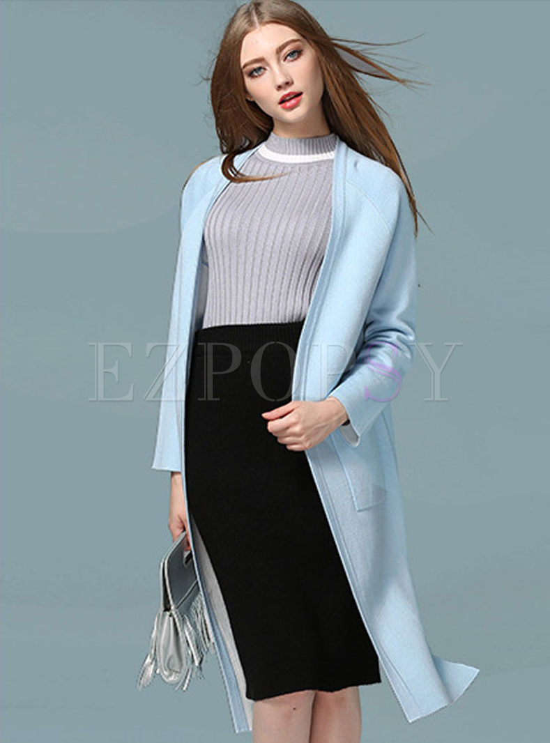 Casual V-neck Long Sleeve Knitted Coat