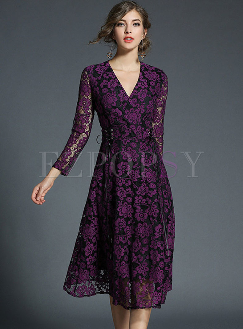 Purple Romantic Hit Color Hollow Out Skater Dress