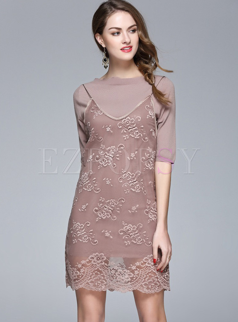 Half Sleeve Pullover T-shirt & Sexy Lace Suspender Dress