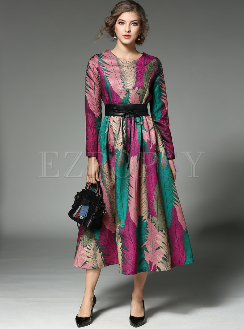 Chic Leather Print Waist Big Hem Maxi Dress