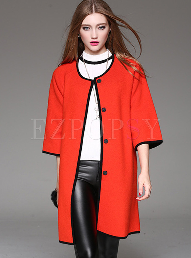 Contrast Color Three Quarters Sleeve Knitted Coat