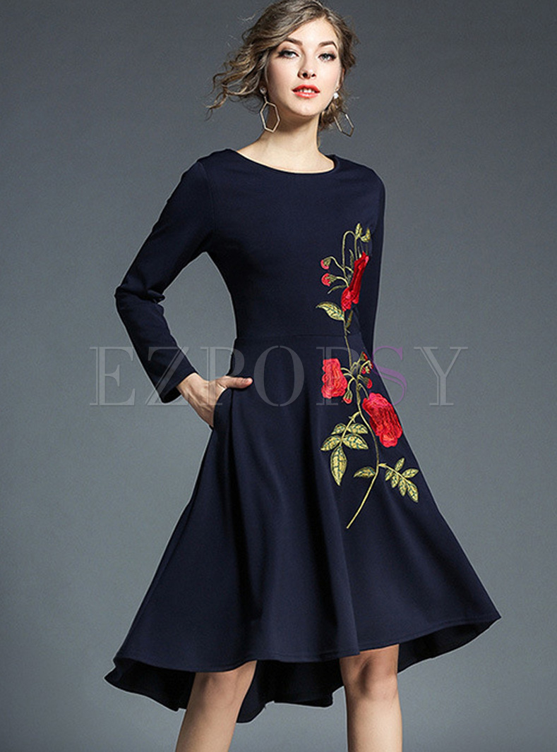 Chic Embroidery Asymmetric Hem Skater Dress
