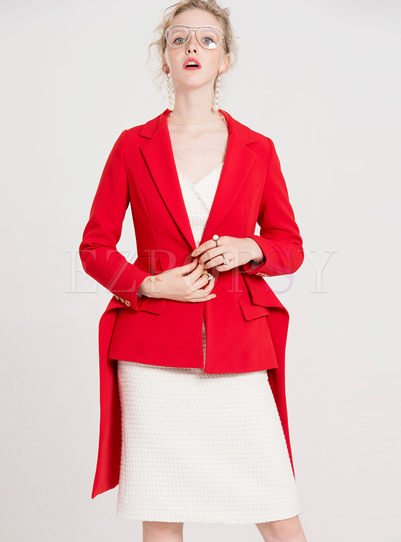 Red Slim Asymmetric Hem Blazer