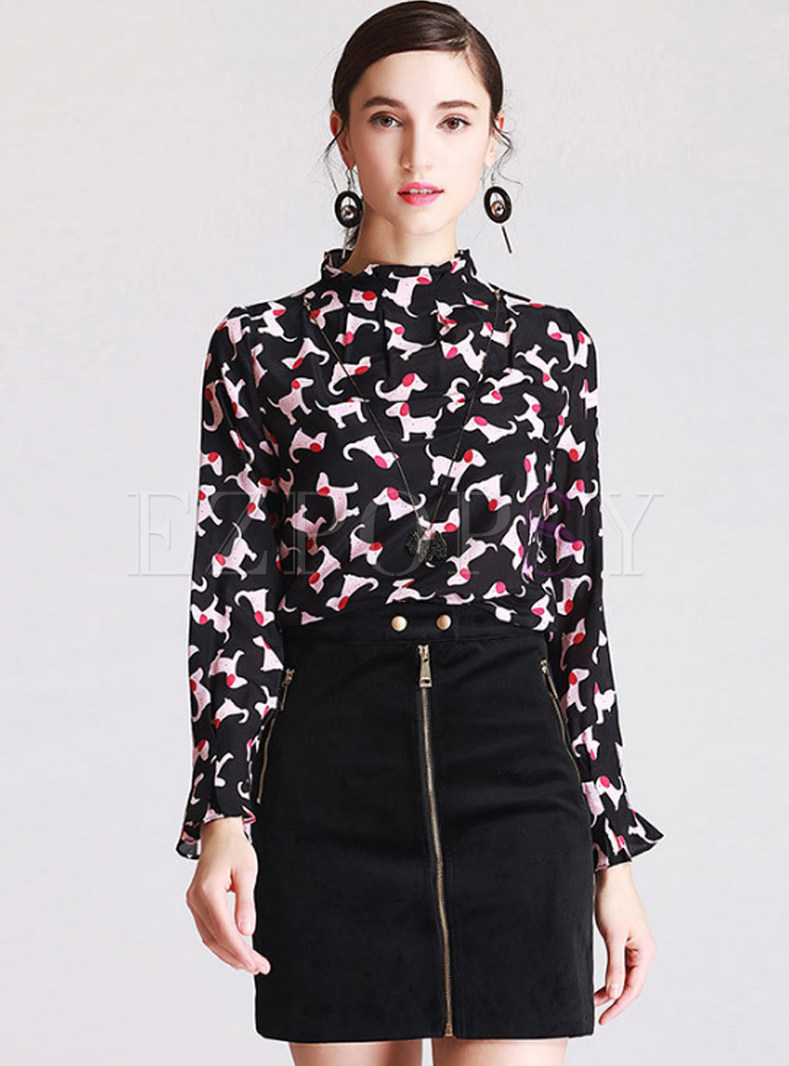 Stand Collar Blouse Designs : Tops blouses silk dog design print stand collar blouse