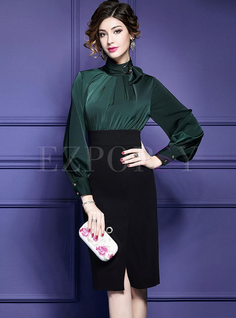 Elegant Lantern Sleeve High Waist Bodycon Dress