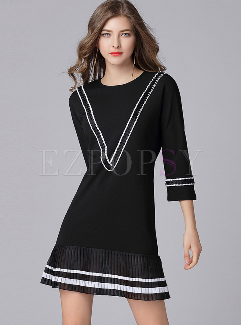 Chiffon Splicing Patchwork Shift Dress