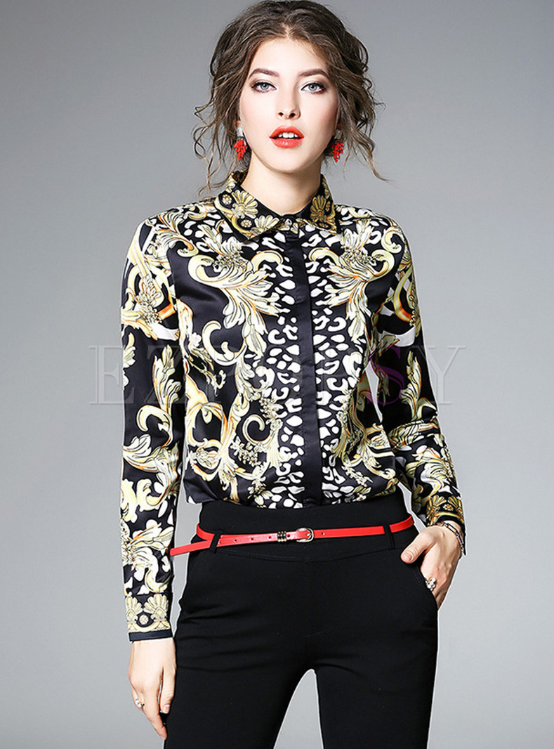 Ethnic Color-blocked Long Sleeve Blouse