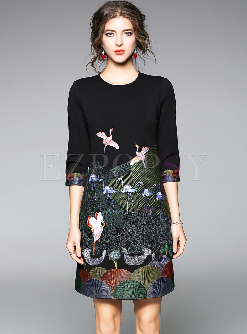 Chic Embroidery Three-quarters Sleeve Shift Dress