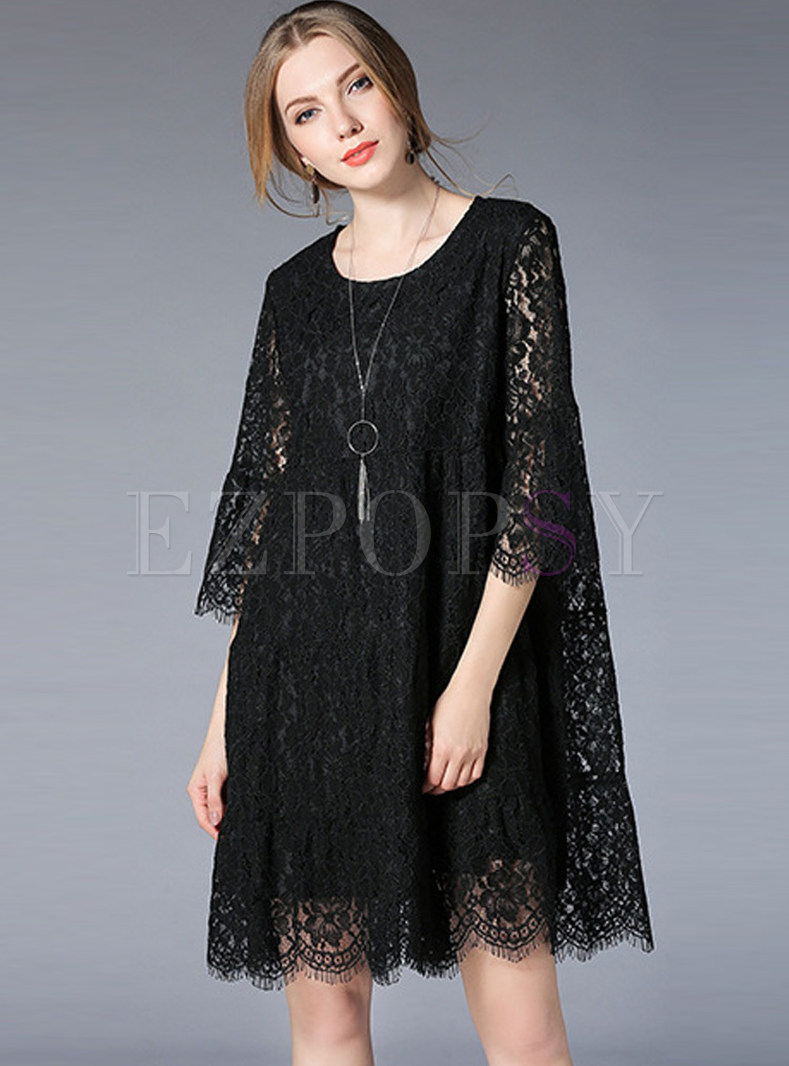 Casual Lace Hollow Out Shift Dress
