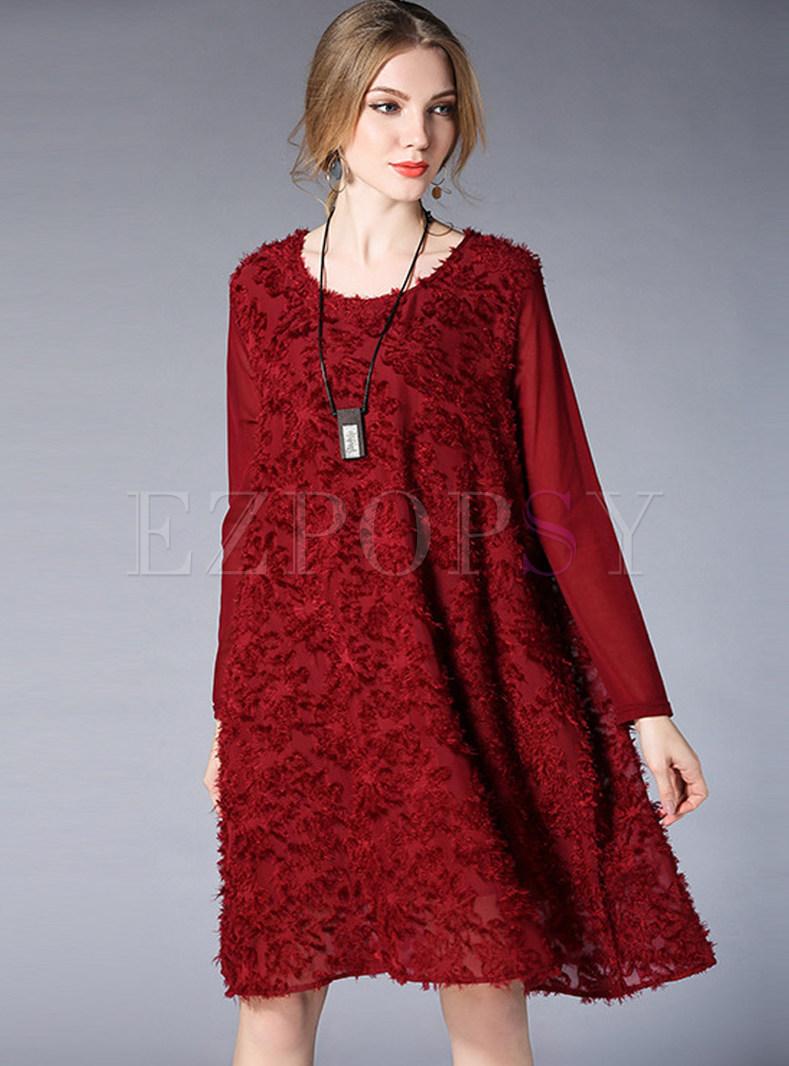 Wine Red Chiffon Stereoscopic Design Shift Dress