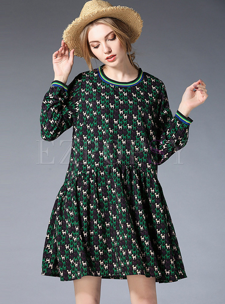 Sweet Contrast Color O-neck Shift Dress