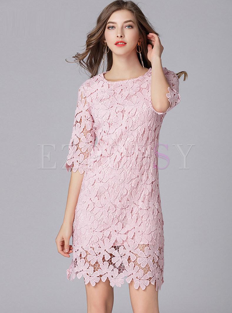 Pink Half Sleeve Lace Shift Dress