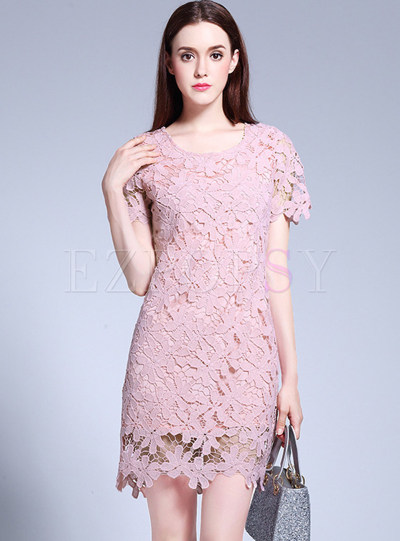 Plus Size Lace Short Sleeve Shift Dress