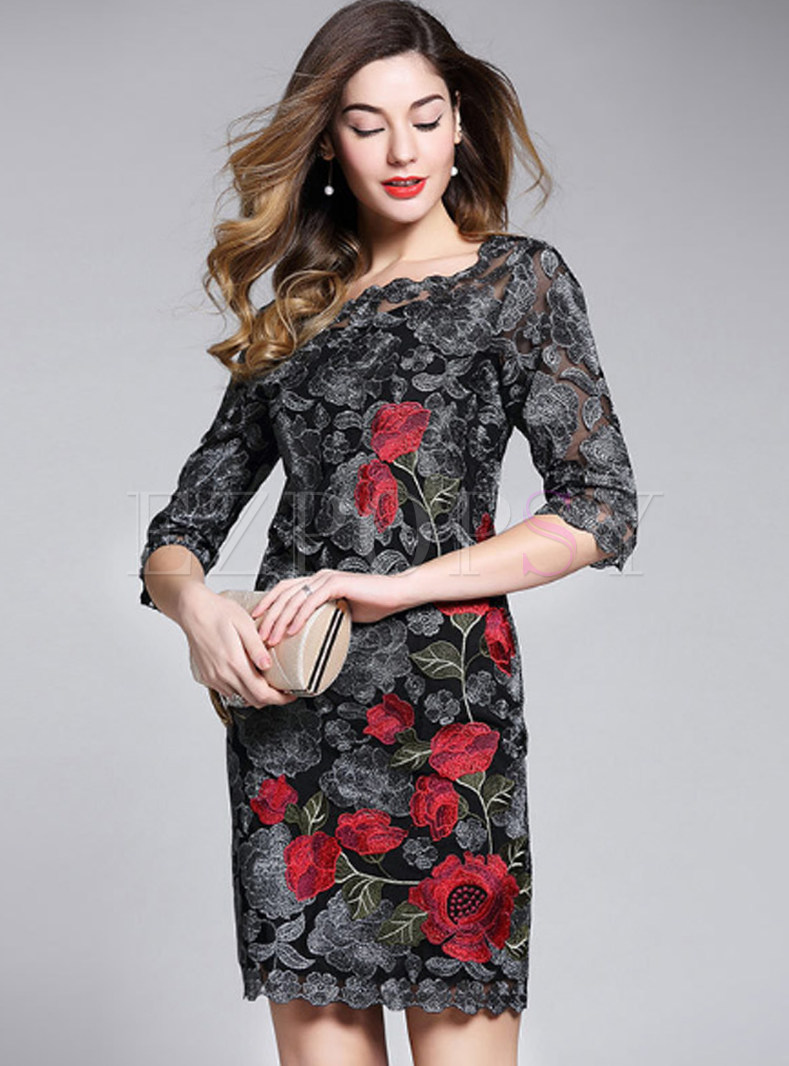 Stylish Flower Embroidered Lace Bodycon Dress
