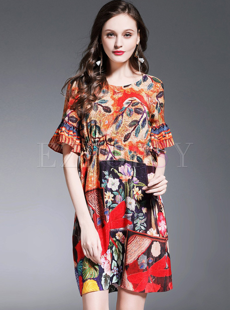 Floral Print Silk Flare Sleeve Skater Dress