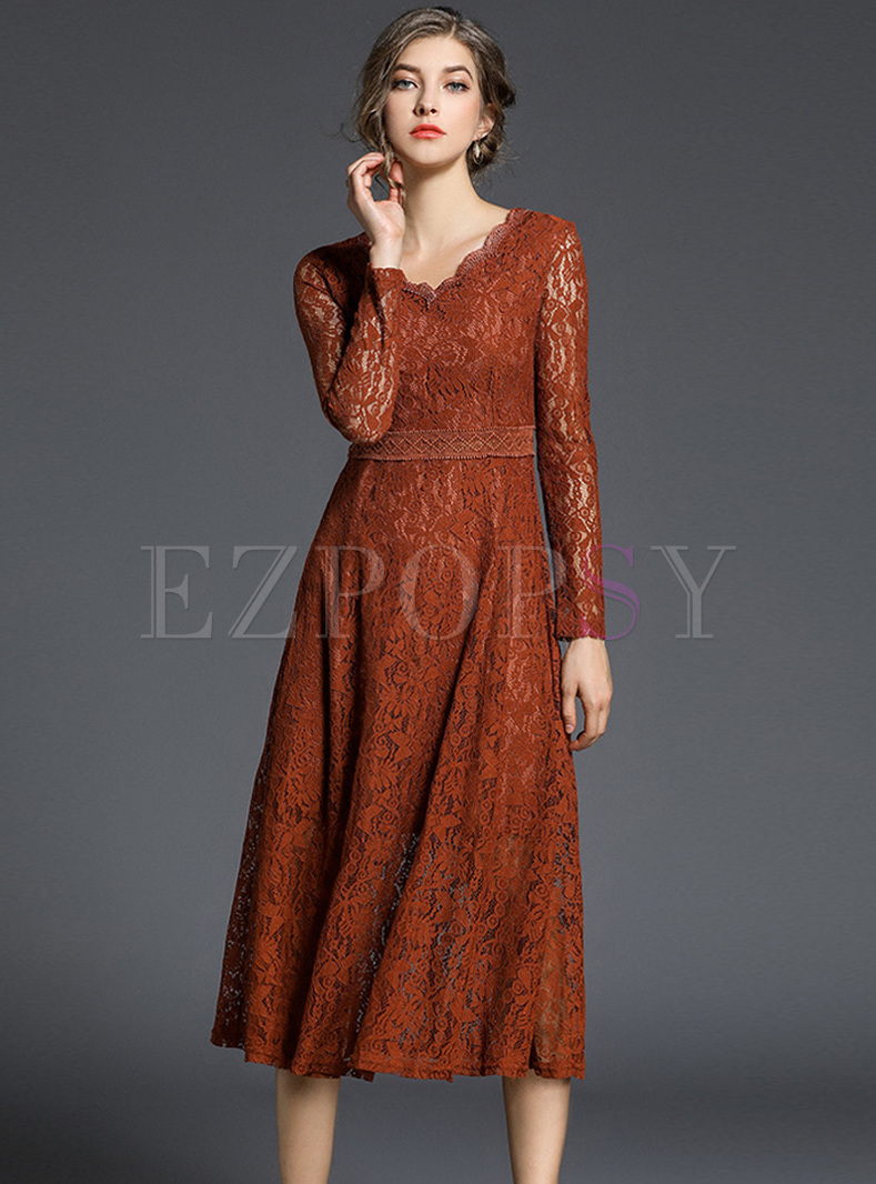 Caramel V-neck Lace Slim A-line Dress