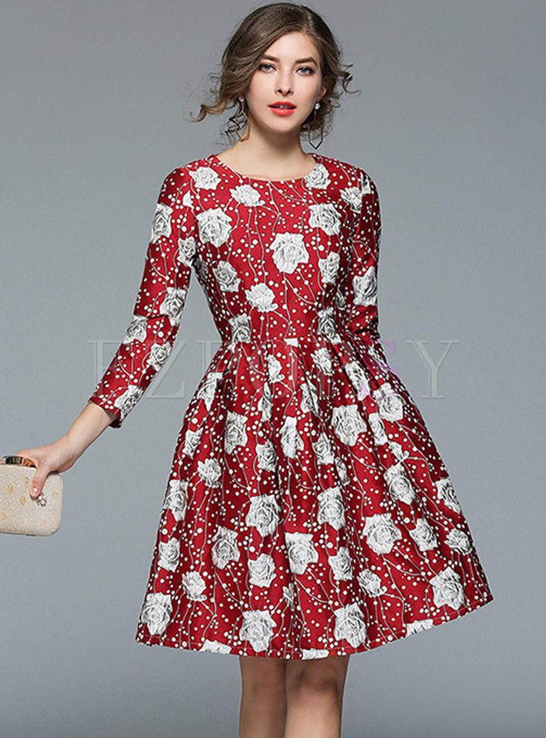 Street Rose Print Big Hem A-line Dress