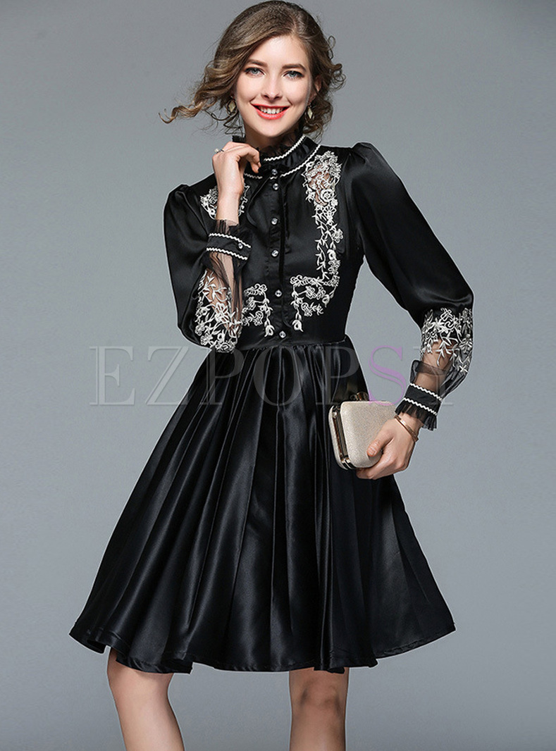 Black Embroidered Stand Collar A-line Dress