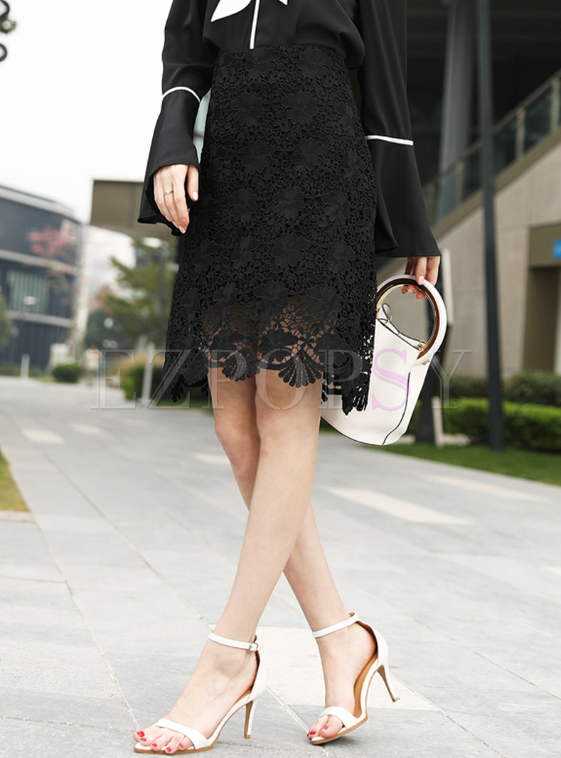 Black Lace Hollow Bodycon Skirt