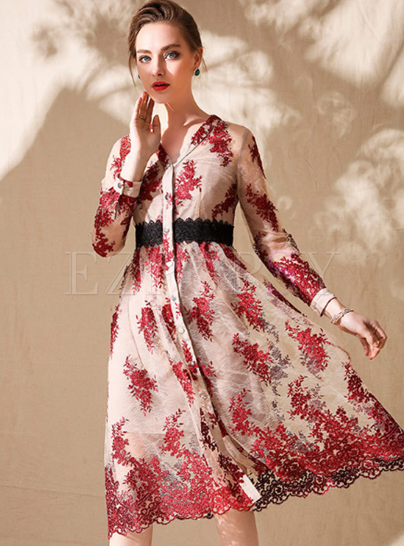 308065a5 Dresses   Skater Dresses   Red Embroidered V-neck Skater Dress