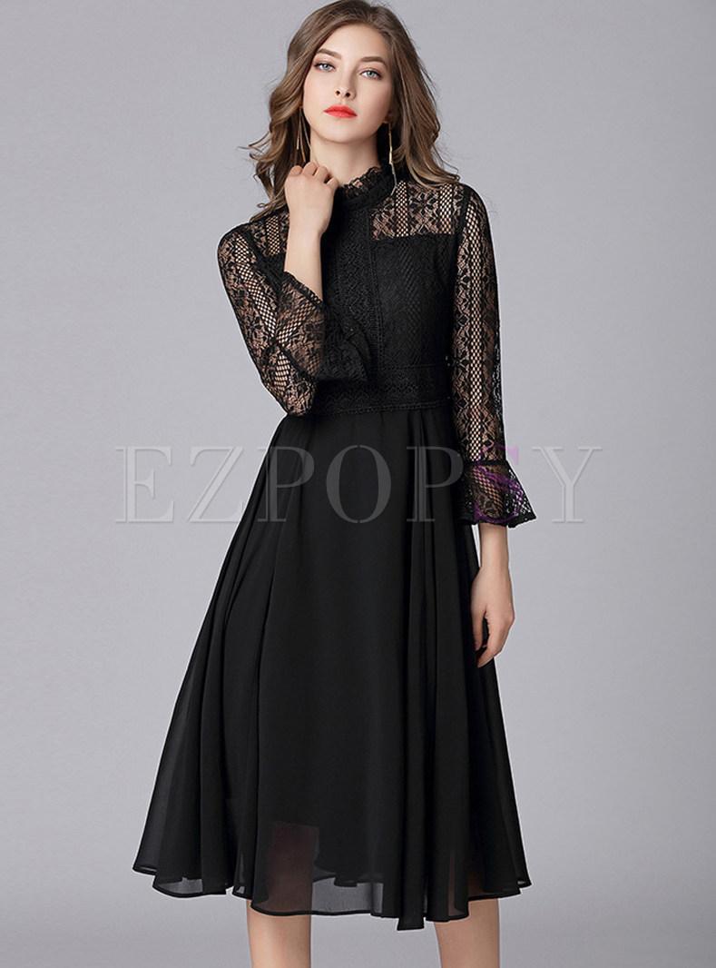 Sexy Lace Hollow Out Chiffon Dress