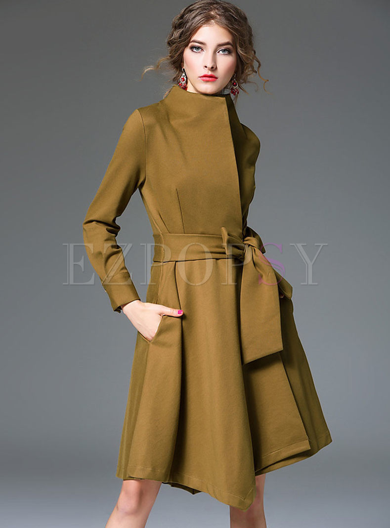 Retro Irregularity Pure Color Skater Coatdress