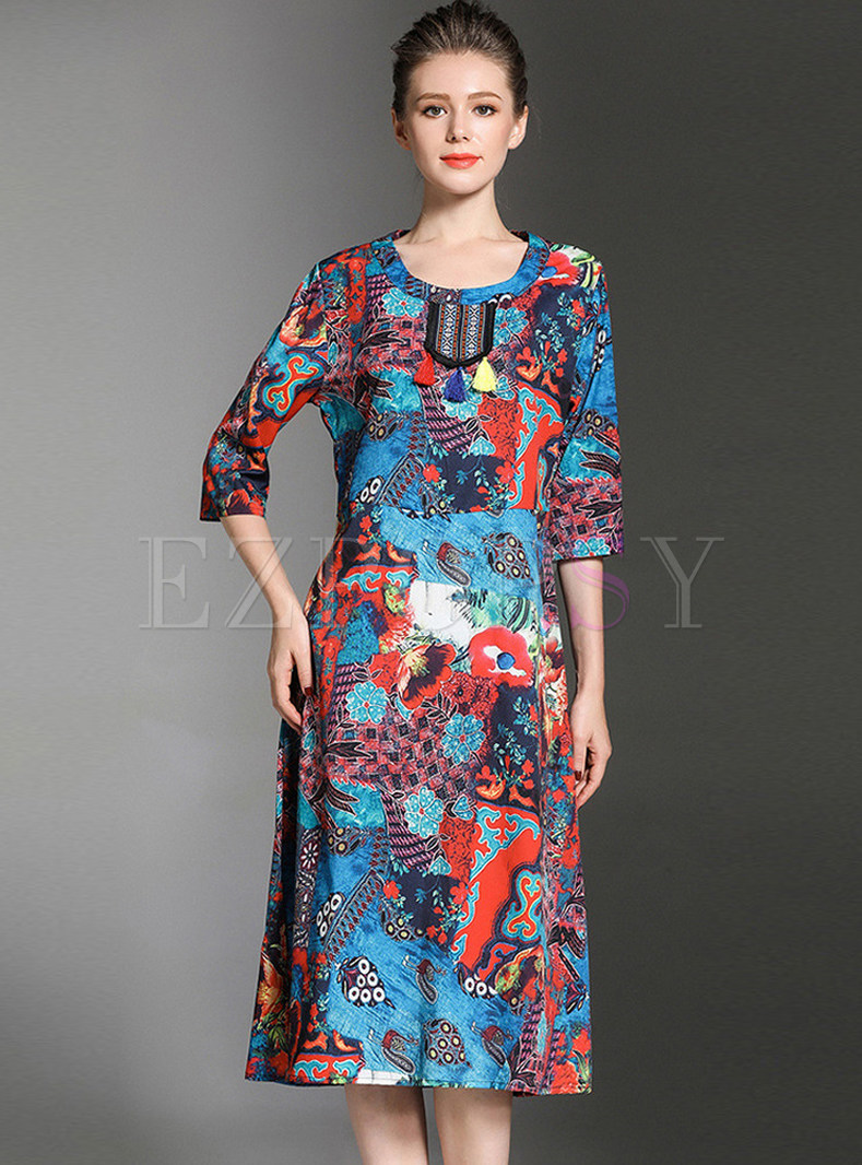 Ethnic Print Three Quarters Sleeve Dress