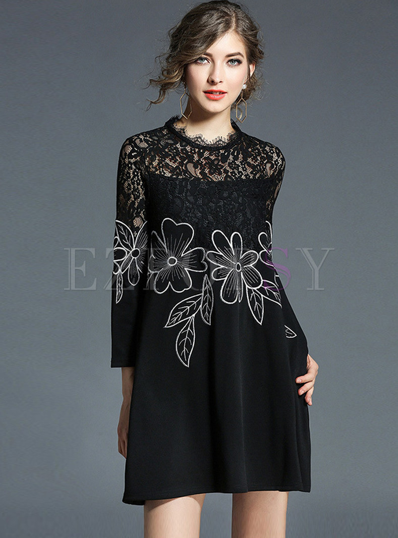 Black Lace Hollow Out Embroidered Shift Dress