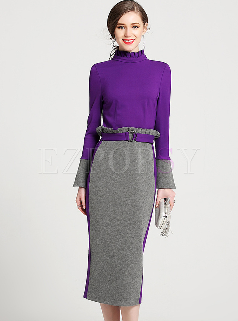 Elegant Color-blocked Flare Sleeve Stand Collar Bodycon Dress