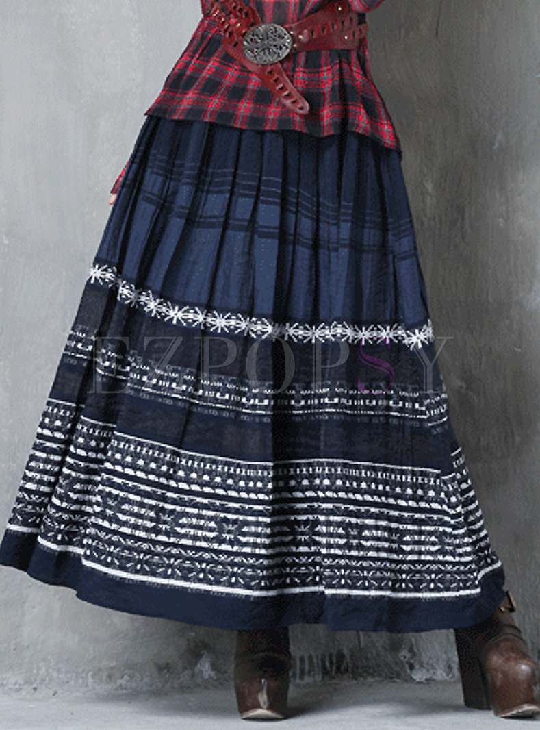 Ethnic Embroidery Big Hem Skirt