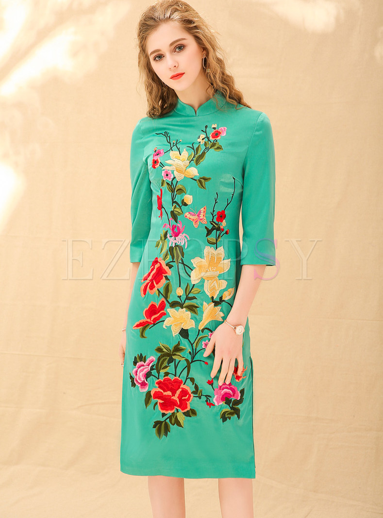 Green Embroidered Improved Cheongsam Dress