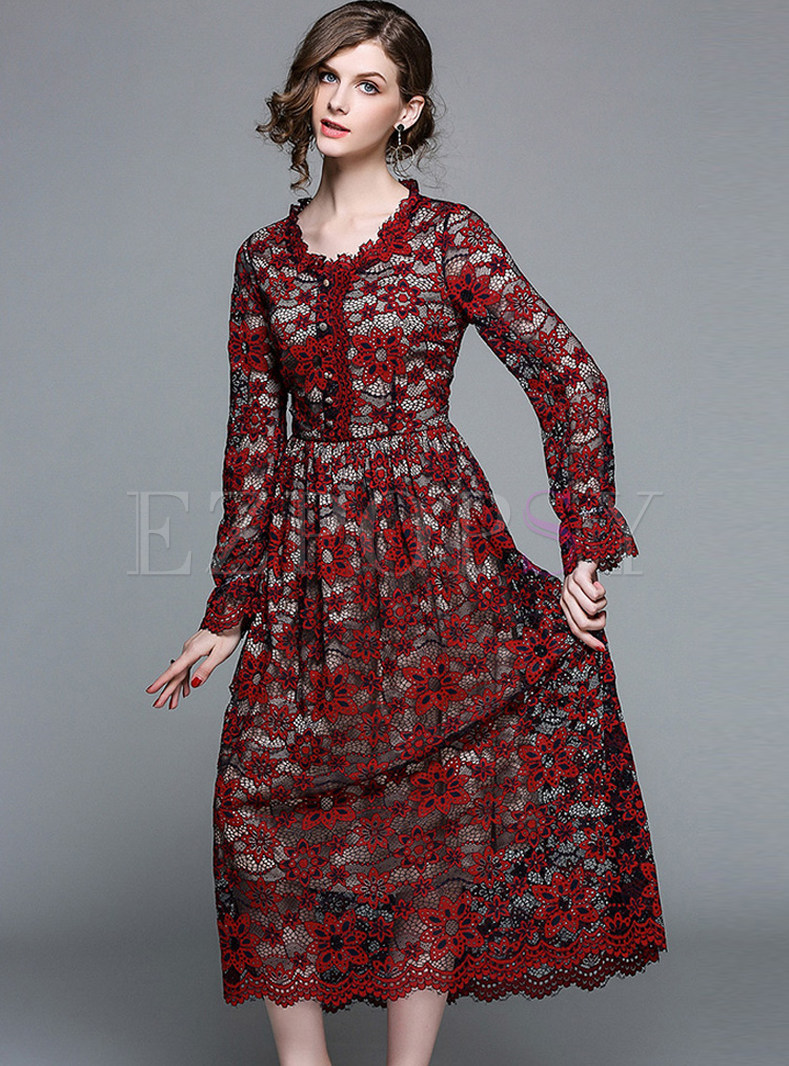 Hollow Out Embroidered Lace Maxi Dress