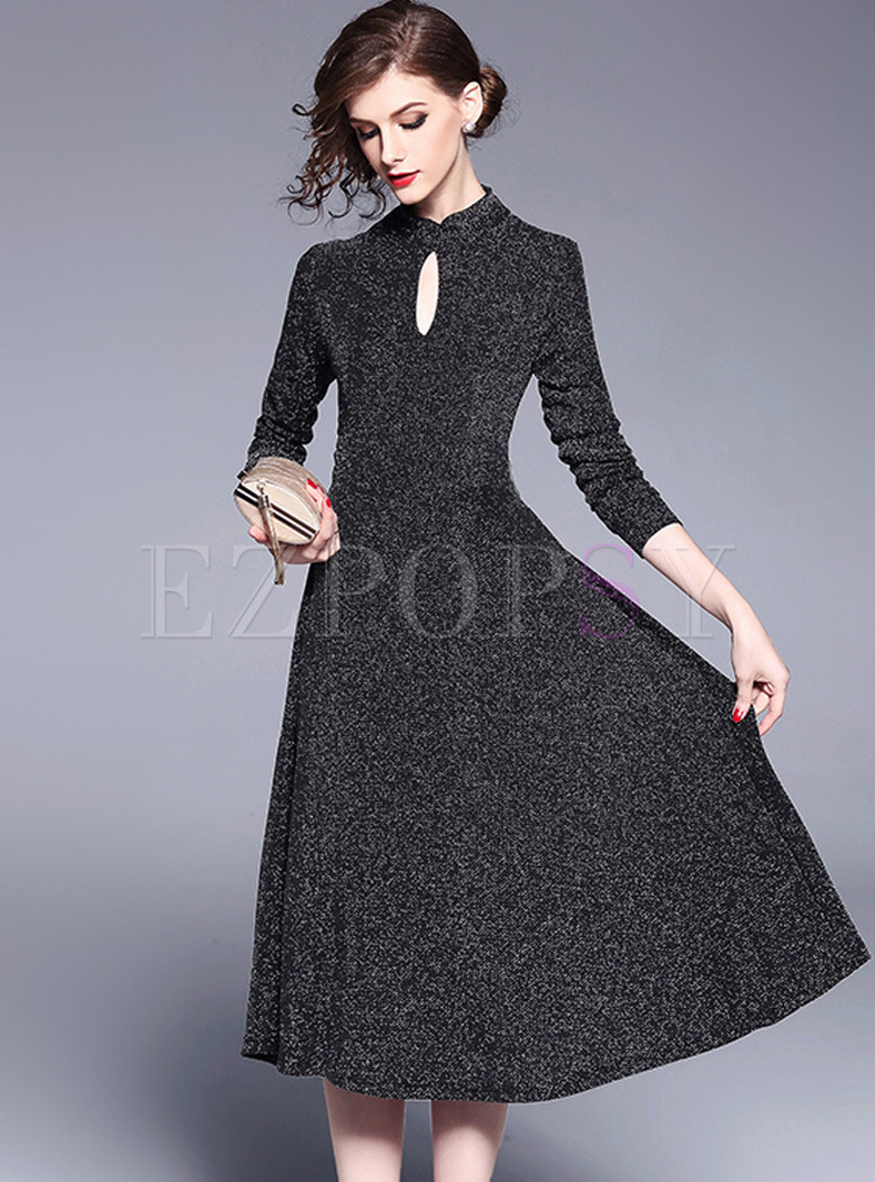 Stylish Stand Collar Big Hem A-line Dress