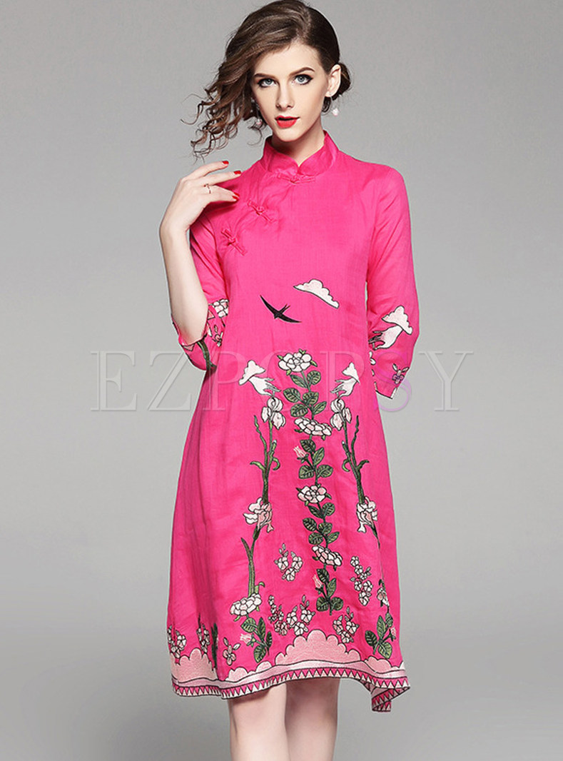 Ethnic Loose Embroidered Shift Dress