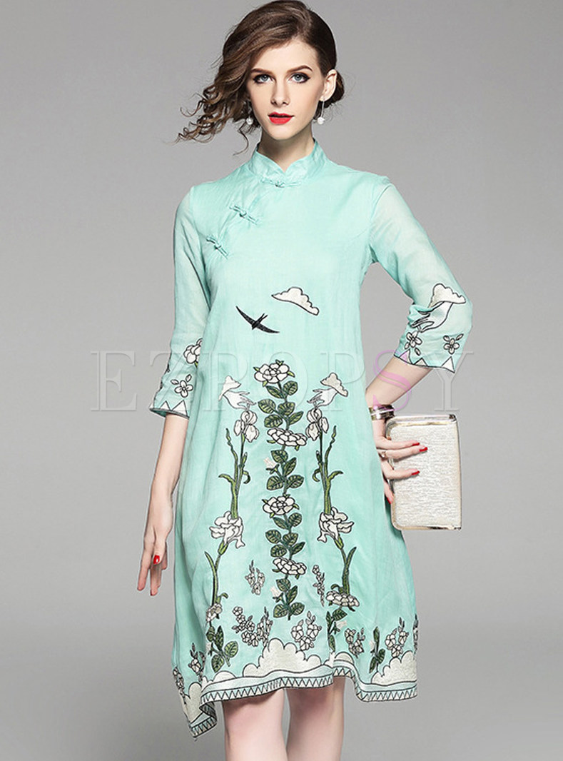 Light Green Embroidered Stand Collar Shift Dress