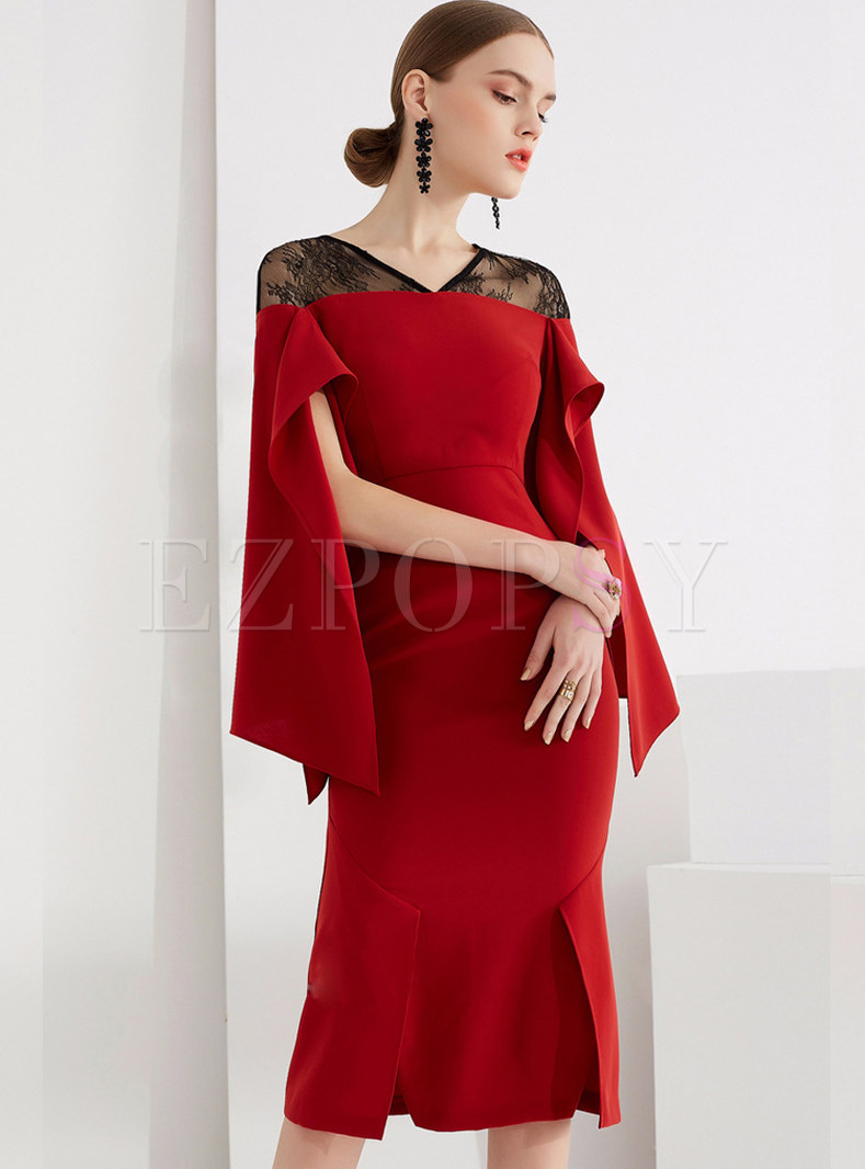 Red Party Lace Splicing Slit Mermaid Dress