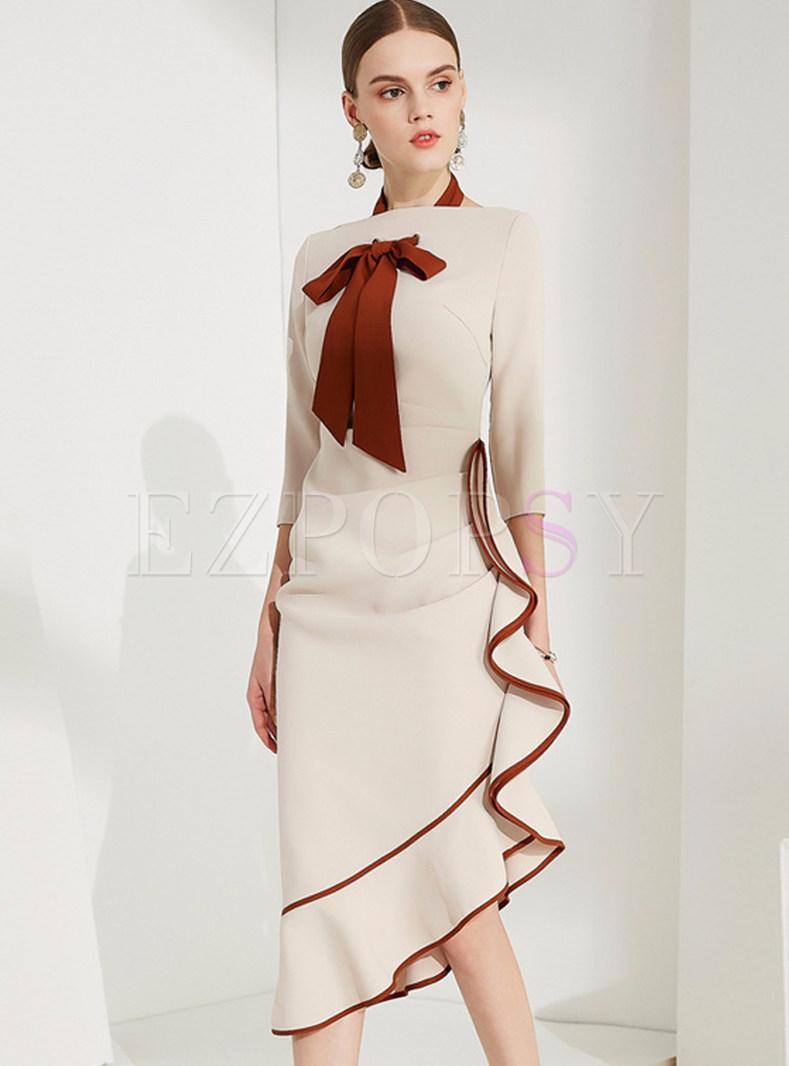 Hit Color Bowknot Asymmetric Bodycon Dress