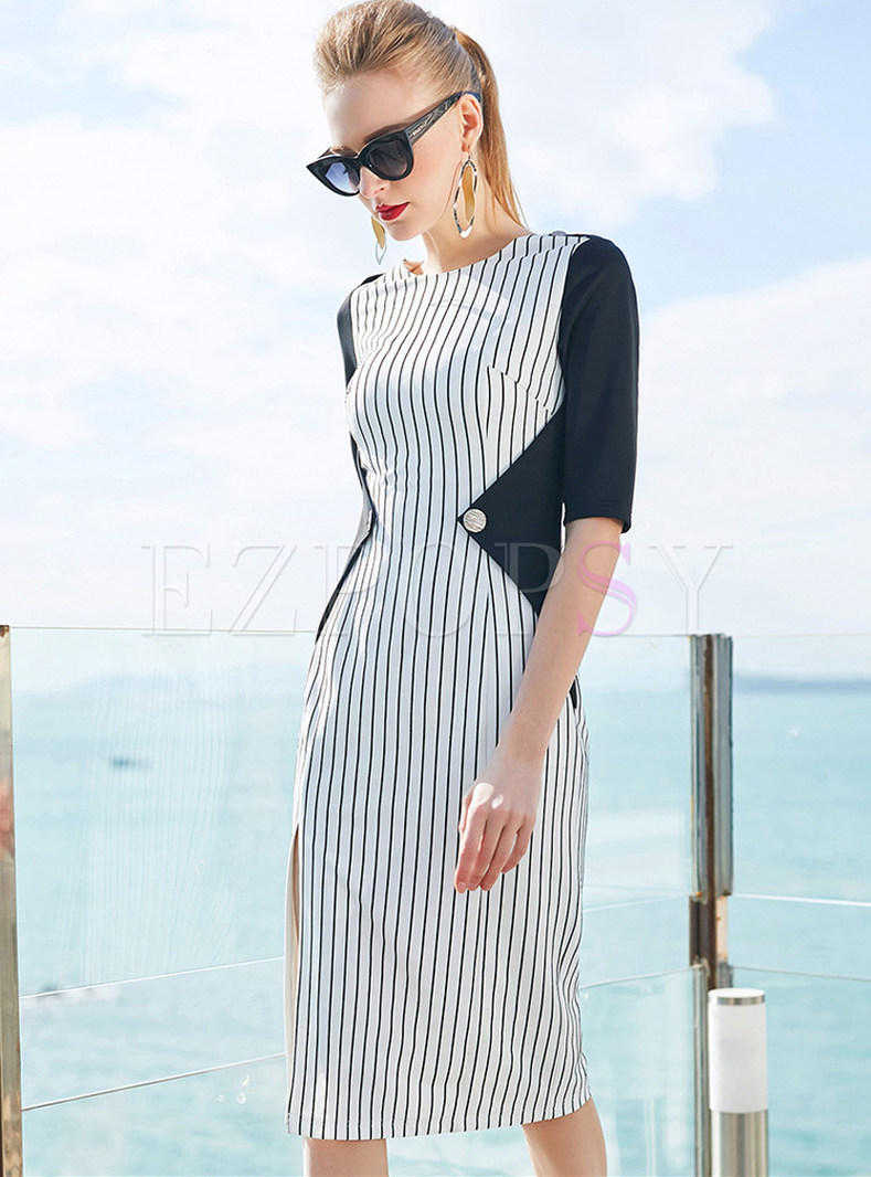 Striped Splicing Slit Half Sleeve Bodycon Dress