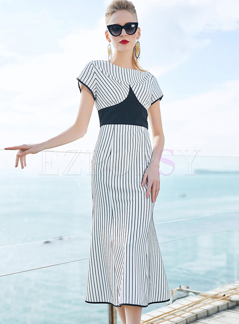 Striped Splicing Short Sleeve Mermaid Dress