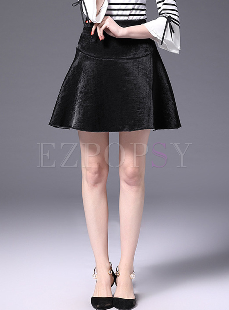 Black Brief Mini A-line Skirt