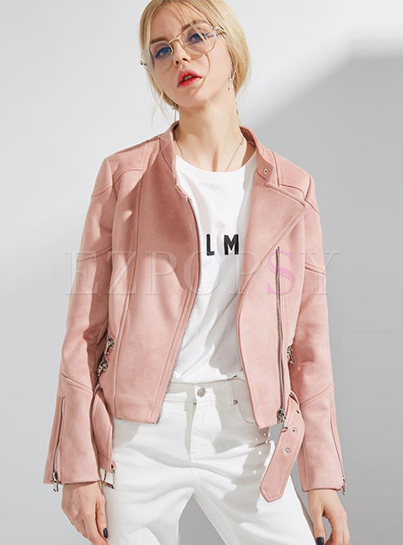 Pink Stand Collar Short Coat