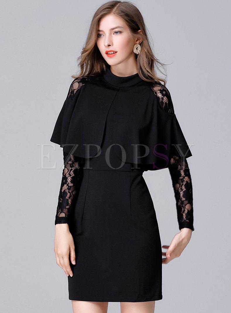 Black Lace Cape-sleeve A-line Dress