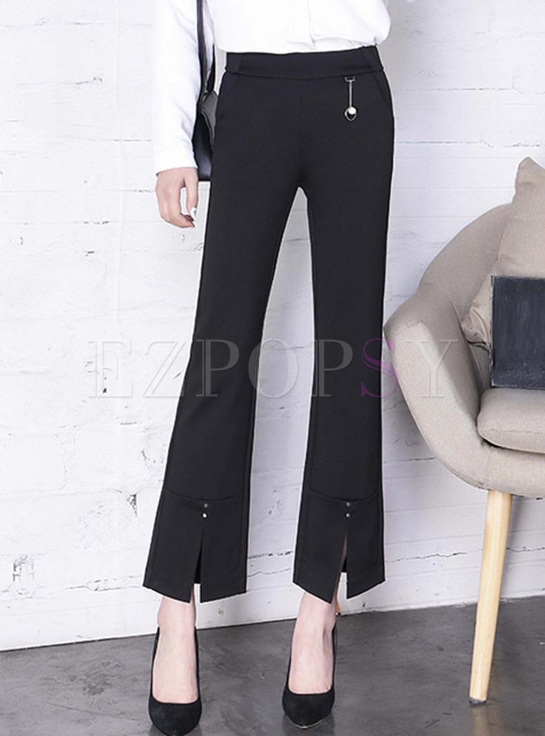 Chic Black Slit Mid-waist Flare Pants