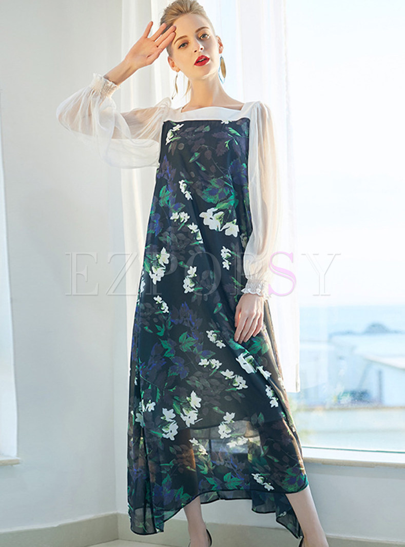 Floral Print Loose Maxi Dress With Underskirt